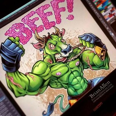 I'm pretty sure I invented the ground beef font.  Also, probably the green cow with giant pink nipples, I have to be the first guy to draw that.⠀#nipplesyoucanseefromspace #cow #art #tshirt New Artwork From Instagram