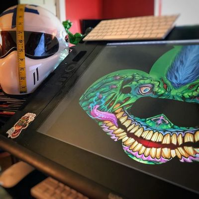 Designing my first motorcycle helmet!  Next on the list:  learn how to ride a motorcycle!⠀Illustrated by Brian Allen, FlylandDesigns.com⠀#helmet #motorcycle #mangastudio #photoshop #illustration #tshirt #art #instaart #instaartist #picoftheday #igdaily #followme New Artwork From Instagram