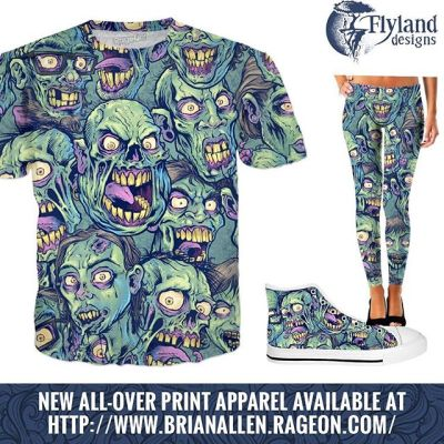 I created this seamless repeatable zombie pattern from sketches of zombie heads I had laying around - I wish I had the guts to print this out on wallpaper and plaster a room with this!  Check it out on all-over print apparel:⠀https://www.rageon.com/a/users/TheArtofBrianAllen⠀#apparel #zombie #allover #dtg #tshirt New Artwork From Instagram
