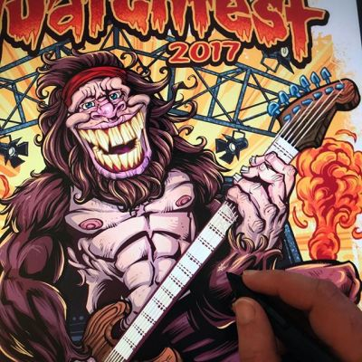 Coloring my #Sasquatch for a festival #gigposter and t-shirt for a cool even this weekend.  New inking video on YouTube. #BigFoot is rarely seen, but when he is, he's typically shredding.⠀Illustrated by Brian Allen, FlylandDesigns.com⠀#tshirt #mangastudio #photoshop #illustration #art #instaart #instaartist New Artwork From Instagram