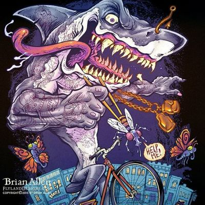 #Van'sGeneralStore in NYC hired me to create this insane #illustration of a crazy #tattooed #shark riding a bike through the city. This was designed for a set of jackets as promotional gifts for the employees - the illustration is packed with symbols that represent different aspects of all their personalities.  No need to explain, it wouldn't help!  Had a lot of fun with this. New Artwork From Instagram