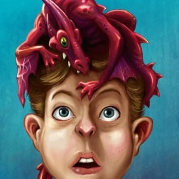 Digital painting I created in Photoshop of a surprised boy and his new pet dragon.