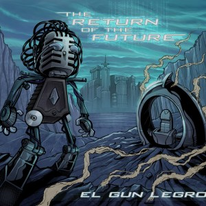 Album cover design with a robot and spaceship