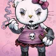 Illustration of Hello Kitty as a goth girl