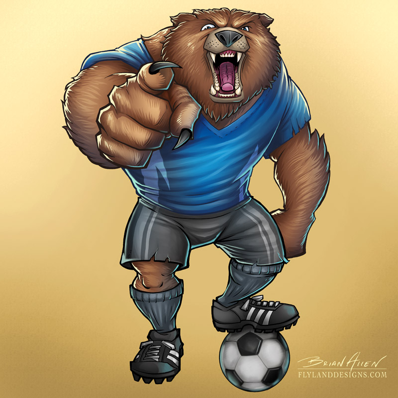 Mascot illustration of an angry soccer-playing bear.