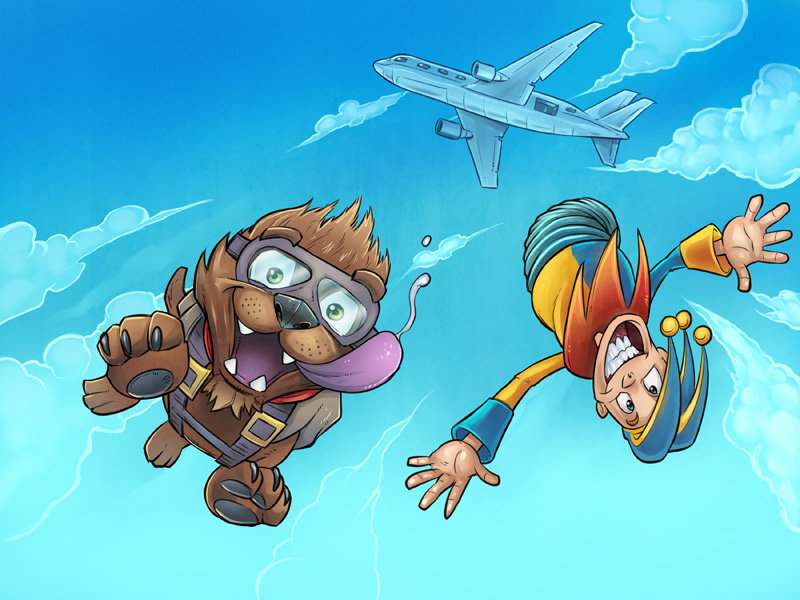 Illustration of a jack-in-the-box and a dog jumping from an airplane