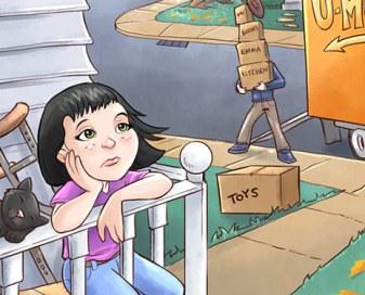 Sad little girl sitting on a porch