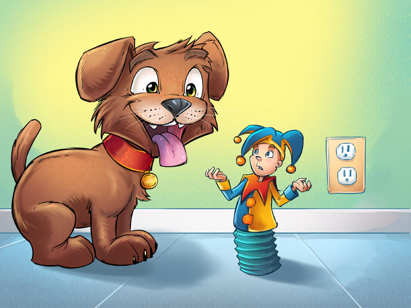 Children's Book illustration of a dog and a jack-in-the-box