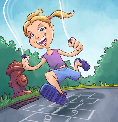 Children's Book illustration of a little girl jumping rope