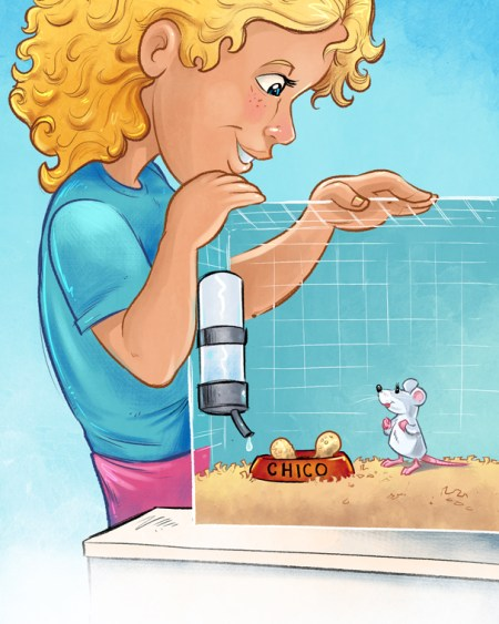 Children's book illustration of a little girl and a mouse