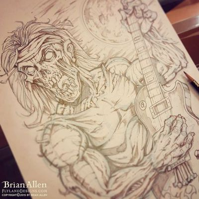 Broke out the #pencils to draw this #guitar playing #zombie for #TommyJustice.  Sometimes I need to get away from the screen for a bit. #illustration #tshirt #art #instaart #instaartist #picoftheday #igdaily #followme New Artwork From Instagram