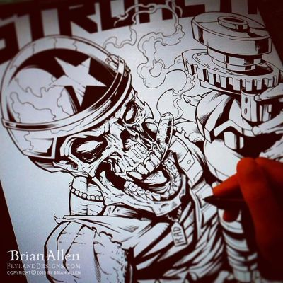 Inking a skull hotrod design for Commando Racing in Clip Studio Paint⠀#art #illustration #tshirt #skull #clipstudiopaint #freelance #FlylandDesigns New Artwork From Instagram