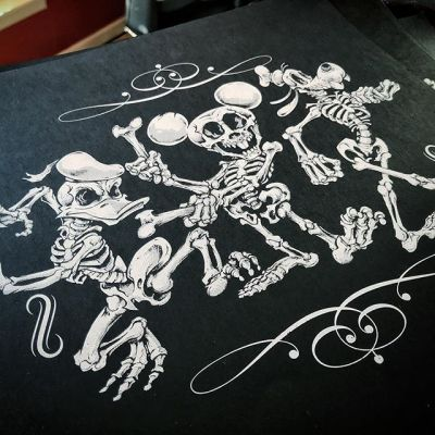 "Hey Guys! I am excited to present my first ever silk-screen print of my Disney Skeleton Parody artwork! Iconic Silkscreen did an excellent job - one color on thick textured black paper 12.5"" square. I'm only printing 50 of these things - thanks in advance for checking them out - really hope to get these things out there so I can screen more artwork!⠀Get it here: https://www.flylanddesigns.com/shop/#silkscreenprint #silkscreenart #disneyart #halloweenart #skeleton #skullart"