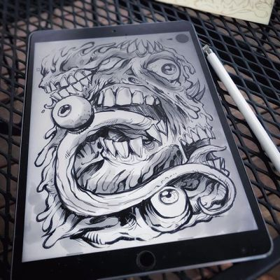 Here's something I drew on the iPad Pro in Procreate - as much as I wanted to love the iPad Pro, I ended up returning it for a bunch of reasons. I made a quick video review of it that I'll be uploading soon.  So many amazing pieces of art have been drawn on the iPad Pro, but for me it just didn't work. #ipadpro #procreate  #illustration #art #instaart #instaartist #news #hire #sketch