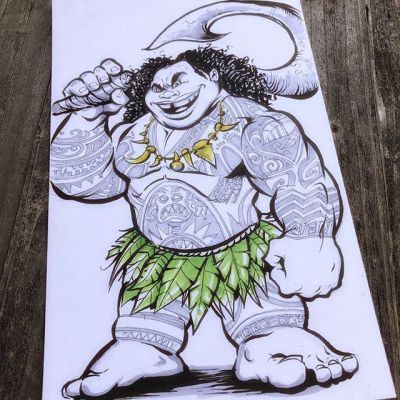 Had fun with this Maui from Moana sketch I did for our neighbor's kid before they moved out of town - inked with a #pentelbrushpen #moanaart #inksketch