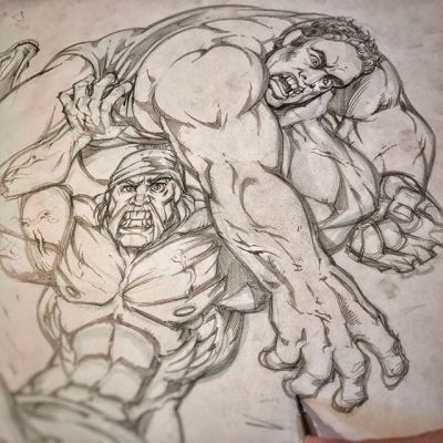 So excited to be working on this t-shrit design for Hulk Hogan body-slamming Andre the Giant - been a huge fan of his since the early shirt-ripping days - by the way, I realize his hand is backwards! Haha! Fixed! #hulkhogan @hulkhogan  #tshirtdesign #pencilsketch  #illustration #art #instaart #instaartist