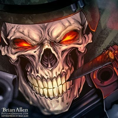 Close-up detail of a #skull I painted in #photoshop for #CommandoRacingGear