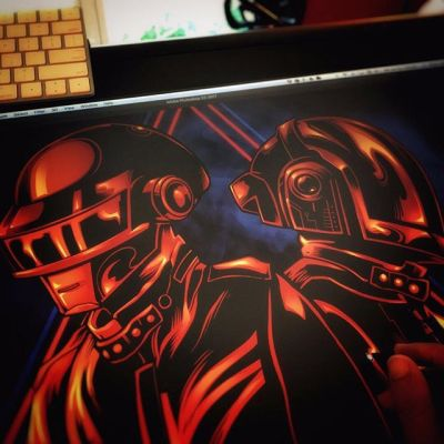 @daftpunk #fanart illustration (unofficial) in progress - working in #MangaStudio, trying to keep the colors limited, thought red would be cool #sketch #wip #pencildrawing #concept #illustration #freelanceartist #hire
