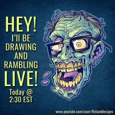 Hey I'll be drawing and rambling LIVE and answering questions on YouTube, Facebook, Twitch, and Periscope around 2:30 EST today - please stop by!