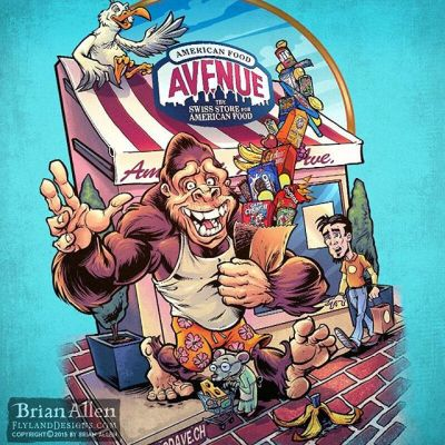 #t-shirt I illustrated for a grocery store chain in Switzerland that specializes in American food, featuring #whimsical animal #cartoon characters coming out of the store loaded with great American trashy foods.The great #SteveNazar (T&C Surf) had designed their characters previously, so it was a lot of fun to pick up where he left off and create some new characters inspired by that style.Illustrated by Brian Allen, https://www.flylanddesigns.com/#gorilla #tshirt #mangastudio #photoshop #illustration #art #instaart #instaartist