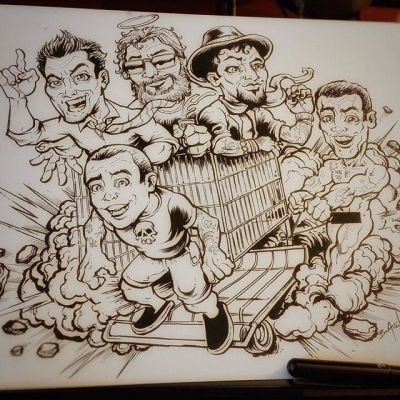 Broke out the #ink #brush and #pen to draw this tribute to the legendary #Jackass crew, who taught us all right from very wrong. $75 plus shipping if anyone wants this in their life.Illustrated by Brian Allen, http://flylanddesigns.com/#cartoon #mangastudio #photoshop #illustration #art #instaart #instaartist