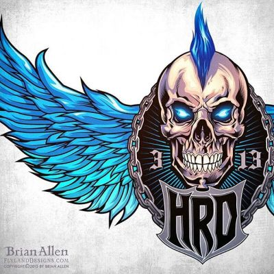 Custom #logo design I created for the rock music website #HardRockDaddy of a mohawk doting #skull with wings.The client wanted something iconic and with a lot of character, so that we could later create a storyline with the mascot in different situations for t-shirts and other promotional items.  The mohawk is a signature trait of the owner of the brand - we made it a vibrant blue, which will be carried out through all of the website's branding. We cycled through several different compositions and angles until we got it just right.Illustrated by Brian Allen, https://www.flylanddesigns.com/#mangastudio #photoshop #illustration #art #instaart #instaartist