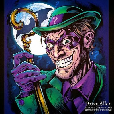 #Fanart I created of the #Riddler if the Riddler existed in a universe where everyone had too many teeth. - Illustrated by Brian Allen, https://www.flylanddesigns.com/#batman #mangastudio #photoshop #illustration #art #instaart #instaartist