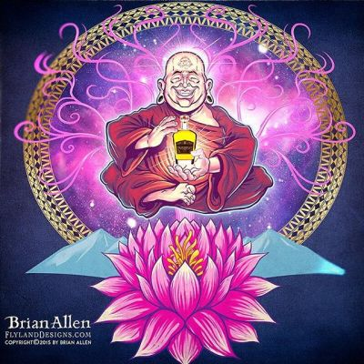 Happy #monk and #lotus flower I illustrated in this - I'm really enjoying a new approach to my artwork which involves fewer, bold outlines, and then a painterly rendering under the lines using the blending brushes in Manga Studio.Illustrated by Brian Allen, https://www.flylanddesigns.com/#psychedelic #monk #mangastudio #photoshop #illustration #art #instaart #instaartist