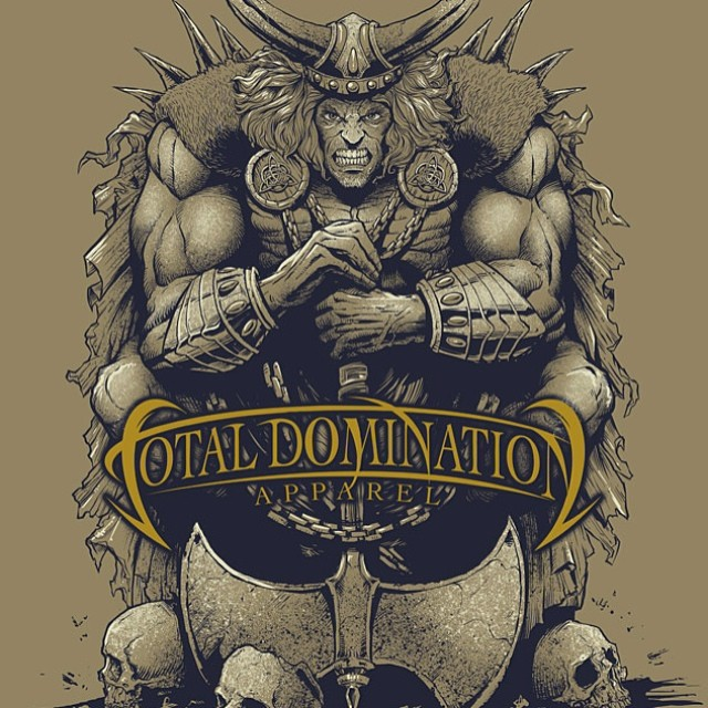 T-shirt illustration of a Viking on skulls for Total Domination Apparel.
