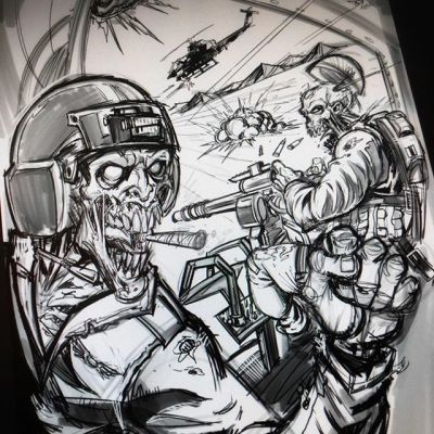 Zombies can do anything if they just put their hearts in it. Sketching a zombie helicopter crew #art #mangastudio #clipstudiopaint #illustration #tshirtdesign #freelance #hire #zombies