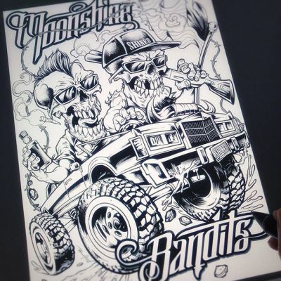I had the chance recently to work with the legendary @moonshinebandits - here's a peek at the ink drawing for their design, featuring their signature off-road limo, and two guys as skeletons! #moonshinebandits #bandart #bandmerch #skeletonart #skullart #flylanddesigns