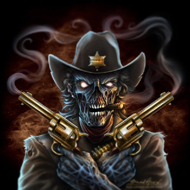 Zombie cowboy I created for the vehbicle decal company Invision Artworks.#illustration #dark #skull #zombie #gunslinger #sheriff #vehiclewrap #vehiclegraphic #atv #brianallen #flylanddesigns