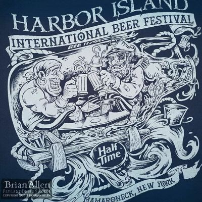 My friend's at #HalfTimeBrewing Company recently hired me to illustrate this detailed single-color t-shirt design for a huge #beer festival they were attending featuring two drunk #pirates floating in a growler bottle on the open sea.  The shirt was a huge hit, and we were all really happy with how it turned out.Illustrated by Brian Allen, http://flylanddesigns.com/#pirates #festival #silkscreen #mangastudio #photoshop #illustration #tshirt #art #instaart #instaartist #picoftheday #igdaily #followme
