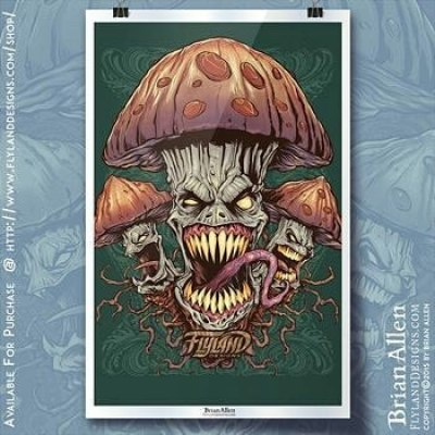 This month's featured art print is my Evil  #psychedelic Mushroom Art Print. This 11x17 print features a trio of evil #magicmushrooms grinning menacingly.https://www.flylanddesigns.com/shop/ #psychedelicart #peyote #shrooms #mushroomart