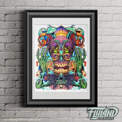 Here is my new 11″x17″ Art print of an evil magical tiki mask surrounded by psychedelic visions of faraway places and things.#evil #psychedelics #artprints #tikicreature #tikiflylanddesigns.com/shop/