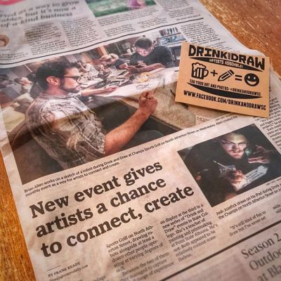 The drawing event I started with Jeremy Bratton and Melissa Hombrosky called Drink and Draw was featured in our local paper! You know it's a fun event when the writer and photographer picked up pencils and paper and started drawing when they were finished. So happy that people are enjoying this and responding so positively to it. Special thanks to the #CentreDailyTimes #drinkanddraw #drinkanddrawsc #artistsunite