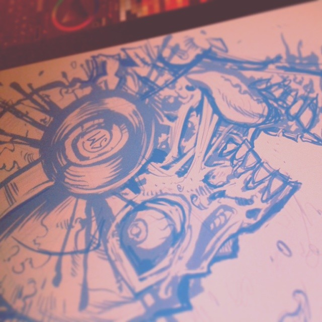 Sketch for a t-shirt for Straying From Madness.#zombie #music #band #tshirtdesign #tshirt #skull #sketch #drawing #freelance