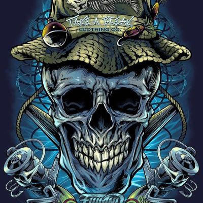 This was a really fun illustration I worked on for @TakeABreakClothing recently of a grinning skull fisherman. Take A Break was one of my very first customers over six years ago, and I'm so greatful for clients that have stuck with me from the beginning.#art #fishingart #mangastudio #clipstudiopaint #illustration #tshirtdesign #tshirtart #skullart #freelanceartist #wacomcintiq