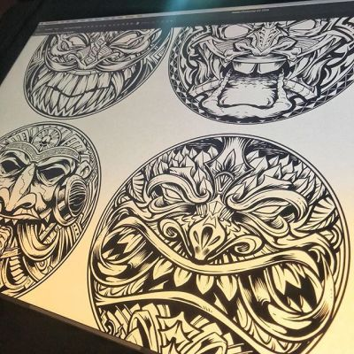 Finally able to share this - tiki art ink drawings I designed for a set of laser-engraved wood coasters I've been working on for some time. Wait until you see these things, they came out so great. More to come soon! Available now for pre-order now in my shop. #tikiart #tikibar #beachart #tikitotem #surfart #tikiartist #beach #originalartwork #mangastudio #clipstudiopaint #illustration #hireanillustrator #freelanceartist #wacomcintiq #coasters