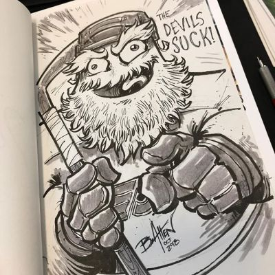 First Gritty commission sketch of the day at Lehigh Valley Comic Con / I've for a feeling I'm going to be doing a few of these! Also, the devils suck@lvcc01 @grittynhl @philadelphiaflyers #flyers #gritty #sketch #ink