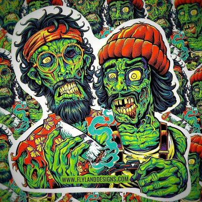 I put my Cheech and Chong zombie illustration on stickers last year, and it's still my most popular design - grab it in my shophttps://www.flylanddesigns.com/shop/#cheechandchong #upinsmoke #zombie #vinylart #vinylcollector #stickerslap #stickerart #diecutstickers