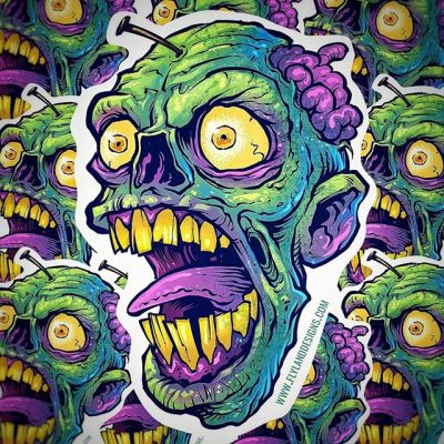 "New stickers! If you want your order by Christmas, tomorrow is the last day I can guarantee shipping to arrive in time. Zombie head 4"" vinyl stickers - grab them in my Shop flylanddesigns.com/shop/....#zombie #vinylart #vinylcollector #stickerslap #stickerart #diecutsticker"