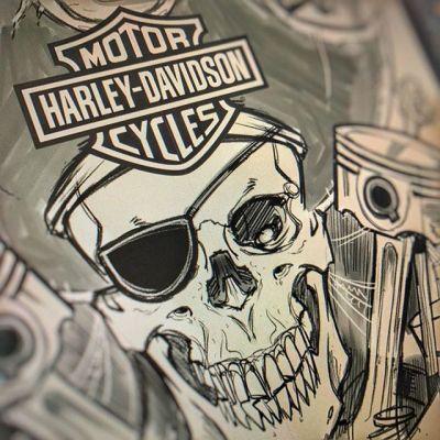 Working on a sketch for another design for Harley Davidson - drawing skeleton pirates always reminds me of One-Eyed-Willy#skullart #skulls #skulldesign #darkartist #darkart #skullartwork