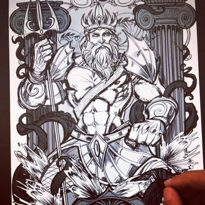 Sketching Poseidon in Clip Studio Paint for a client - I'm thinking about doing a series in this style of other Greek Gods, maybe to try to showcase as beverage labels. Which other Gods should I do? #greekmythology #poseidon  #art #originalartwork #mangastudio #clipstudiopaint #illustration #hireanillustrator #freelanceartist #wacomcintiq