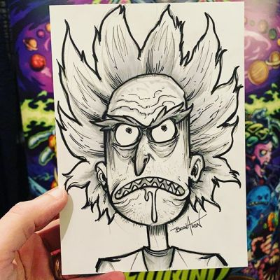 Convention sketch I created of Rick at @monstermaniacon today - great show it's been packed