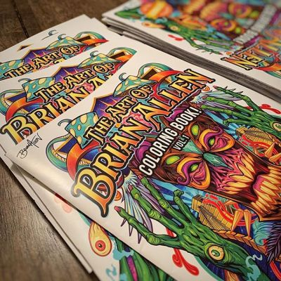 Signing coloring books tonight. Just got them back from the printers. Can't wait to start sharing this with you guys I'm really proud of how it turned out. Thanks for the overwhelming interest so far! Available in my shop now! I'm taking a bunch to @monstermaniacon this weekend hoping they will be well received.#adultcoloringbook #psychedelicart #tikiart