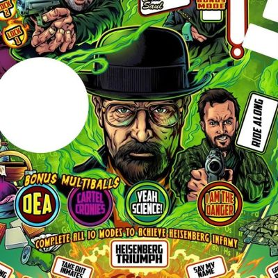 Breaking Bad pinball playfield I designed to retheme an old Judge Dredd machine for Tim Fife - he's building his own awesome Breaking Bad machine with art from a lot of talented folks. The white areas are all translucent with lights underneath, or cut outs for objects. It's going to be so sweet.#breakingbadart #pinballart #pinballartwork #pinball #pinballmachine #playfield #backglass