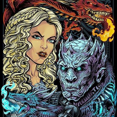 Finished Game of Thrones poster I did for BamBox, officially licensed. I thought it would be fun to focus on the dicotomy of the fire and ice dragons. I haven't watched any of the new season yet, I'm binging all the previous episodes first. Makes a lot more sense on the second watch!Limited edition signed prints available in my shop.#bambox #gameofthronesart #mangastudio #clipstudiopaint #illustration #wacomcintiq