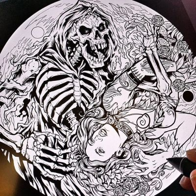 "Artwork for Discraft I'm working on for a series of disc golf discs - really excited about this one. Coloring it today. Was thinking about calling it ""The Dance."" Any suggestions? I'm terrible at naming things (ask my kids).#grimreaper #discgolf #frisbeegolf #discraftdiscs #teamdiscraft #detroitdisccompany #disc"