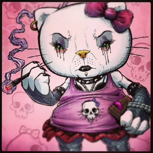 Goth hello kitty illustration I created last year. Thinking about making the old girl into stickers.#hellokitty #goth #gothchick #illustration #cartoon #caricature #funny #drawing #brianallen #flylanddesigns